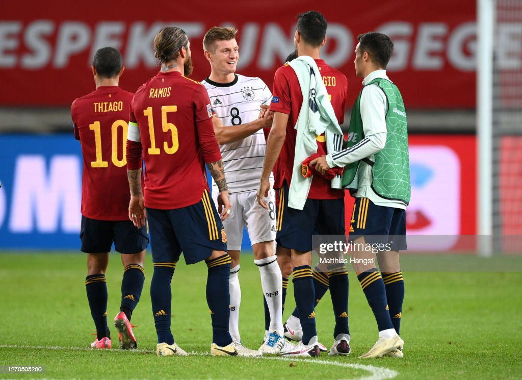 Toni Kroos Of Germany Interact With Players Of Spain Following Their News Photo Getty Images