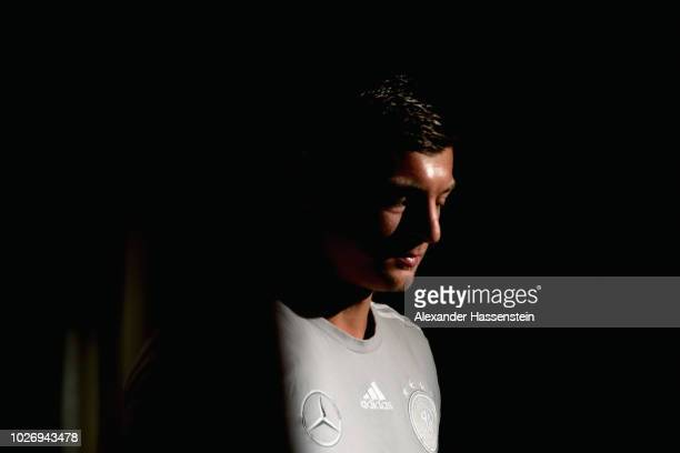 Toni Kroos of Germany looks on during a team Germany press conference at Hilton Munich Park Hotel on September 5 2018 in Munich Germany