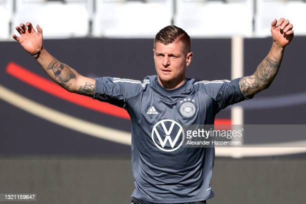 Toni Kroos of Germany looks on during a training session of the German national team at Tivoli Stadion on June 01, 2021 in Innsbruck, Austria.