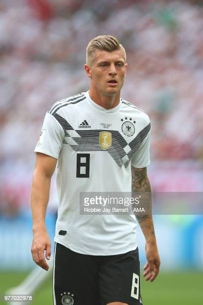Toni Kroos of Germany looks on during the 2018 FIFA World Cup Russia group F match between Germany and Mexico at Luzhniki Stadium on June 17 2018 in...