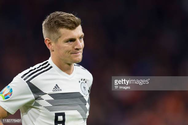 Toni Kroos of Germany looks on during the 2020 UEFA European Championships group C qualifying match between Netherlands and Germany at Johan Cruijff...