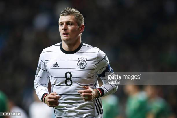 Toni Kroos of Germany looks on during the UEFA Euro 2020 Qualifier between Germany and Northern Ireland at Commerzbank Arena on November 19 2019 in...