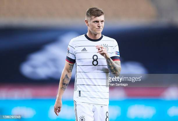 Toni Kroos of Germany looks on during the UEFA Nations League group stage match between Spain and Germany at Estadio de La Cartuja on November 17,...