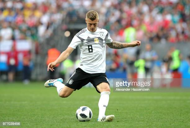 Toni Kroos of Germany passes the ball during the 2018 FIFA World Cup Russia group F match between Germany and Mexico at Luzhniki Stadium on June 17,...