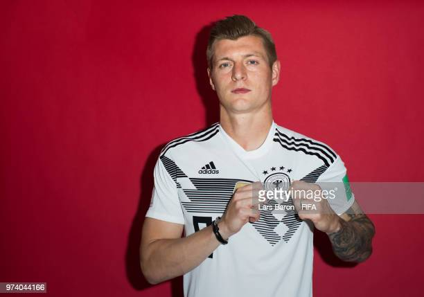 Toni Kroos of Germany poses for a portrait during the official FIFA World Cup 2018 portrait session on June 13 2018 in Moscow Russia