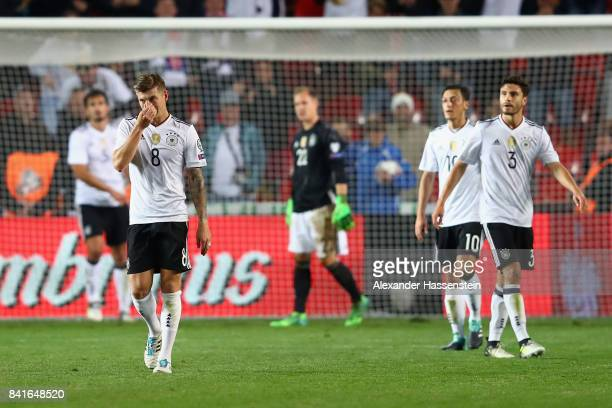 Toni Kroos of Germany reacts after Vladimir Darida of Czech Republic scored his team's first goal during the FIFA World Cup Russia 2018 Group C...