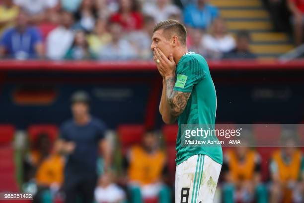 Toni Kroos of Germany reacts during the 2018 FIFA World Cup Russia group F match between Korea Republic and Germany at Kazan Arena on June 27 2018 in...