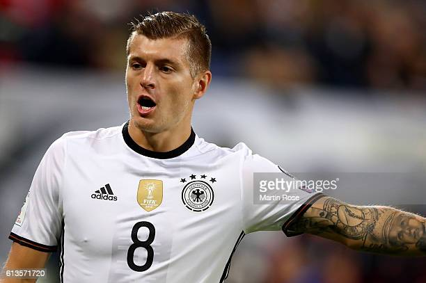 Toni Kroos of Germany reacts during the FIFA 2018 World Cup Qualifier between Germany and Czech Republic at Volksparkstadion on October 8 2016 in...