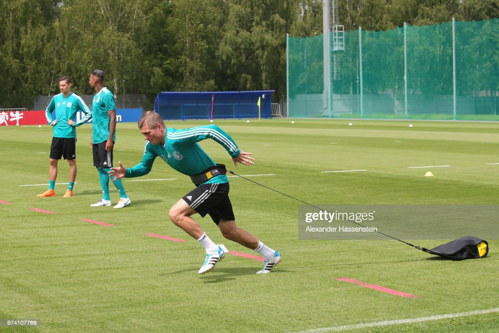 Toni Kroos of Germany runs during the Germany training session ahead of the 2018 FIFA World Cup at CSKA Sports Base on June 14, 2018 in Moscow, Russia.