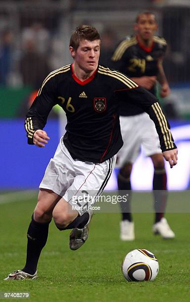 Toni Kroos of Germany runs with the ball during the International Friendly match between Germany and Argentina at the Allianz Arena on March 3 2010...