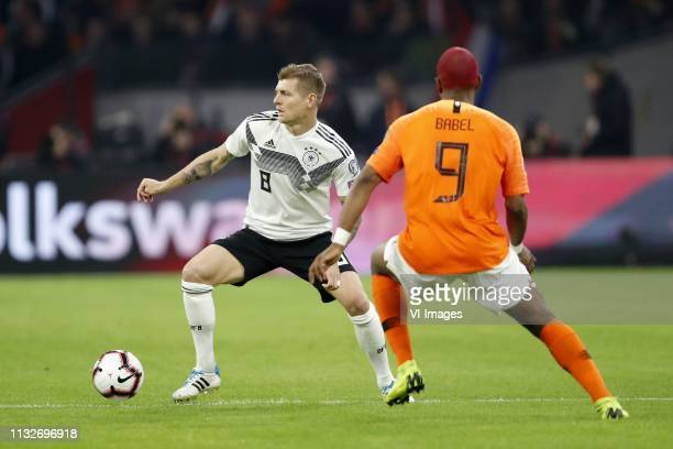 Toni Kroos of Germany Ryan Babel of Holland during the UEFA EURO 2020 qualifier group C qualifying match between The Netherlands and Germany at the...