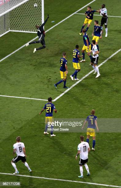 Toni Kroos of Germany scores his team's second goal during the 2018 FIFA World Cup Russia group F match between Germany and Sweden at Fisht Stadium...