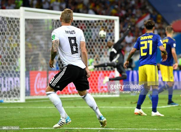 Oliver Bierhoff team manager of Germany reacts to Janne Andersson head coach of Sweden at the field of play after the 2018 FIFA World Cup Russia...