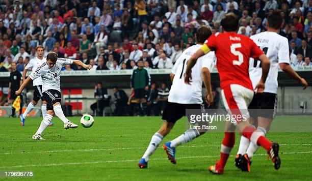Toni Kroos of Germany scores his teams second goal during the FIFA 2014 World Cup Qualifying Group C match between Germany and Austria Allianz Arena...