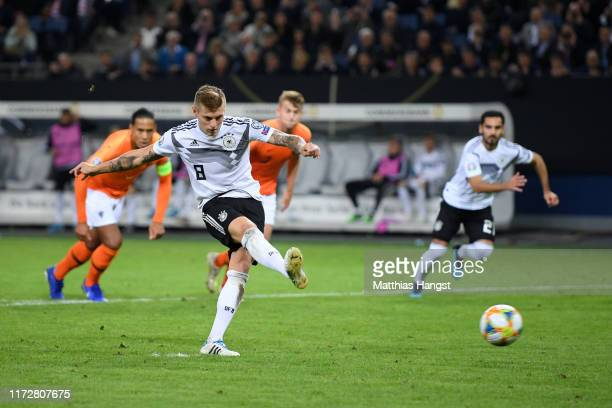 Toni Kroos of Germany scores his team's second goal during the UEFA Euro 2020 qualifier match between Germany and Netherlands at Volksparkstadion on...