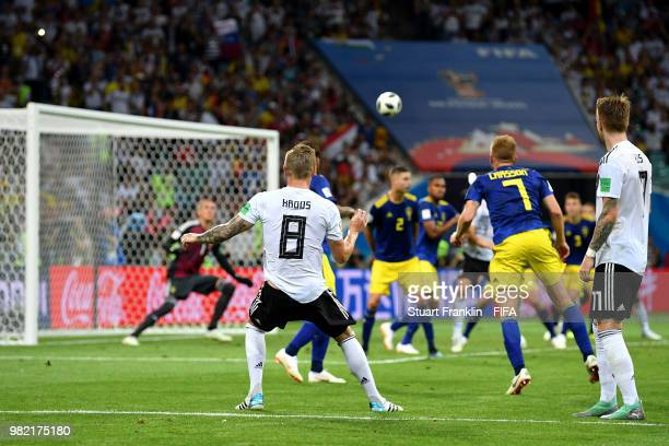 Toni Kroos of Germany scores his team's second goal to put his team in front 21 during the 2018 FIFA World Cup Russia group F match between Germany...