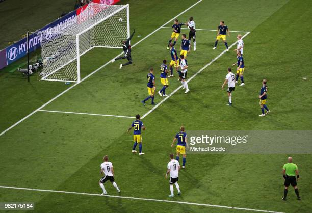 Toni Kroos of Germany scores his team's second goal to put his team in front 2-1 during the 2018 FIFA World Cup Russia group F match between Germany...