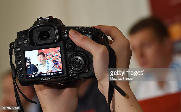 Toni Kroos of Germany seen on a camera screen during a Germany press conference ahead of their Euro 2016 Qualifier against Georgia at the Radisson...