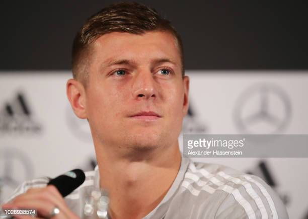 Toni Kroos of Germany speaks to the media during the Germany Press Conference before the International Friendly football match between Germany and...