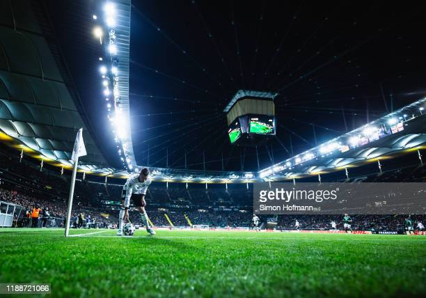 Toni Kroos of Germany takes a corner kick during the UEFA Euro 2020 Qualifier between Germany and Northern Ireland at Commerzbank Arena on November...