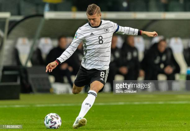 Toni Kroos of Germany takes a shot during the UEFA Euro 2020 Qualifier between Germany and Northern Ireland at Commerzbank Arena on November 19, 2019...