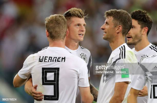 Toni Kroos of Germany Timo Werner of Germany Thomas Mueller of Germany Jonas Hector of Germany during the 2018 FIFA World Cup Russia group F match...