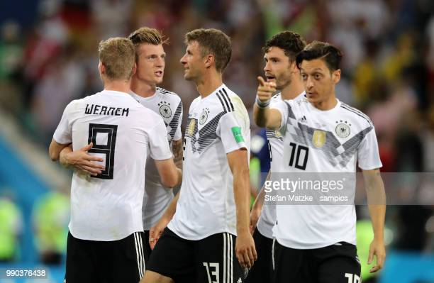 Toni Kroos of Germany Timo Werner of Germany Thomas Mueller of Germany Mesut Oezil of Germany during the 2018 FIFA World Cup Russia group F match...