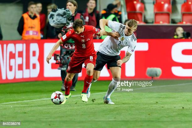 Toni Kroos of Germany und Vladimir Darida of Czech Republic battle for the ball during the FIFA 2018 World Cup Qualifier between Czech Republic and...
