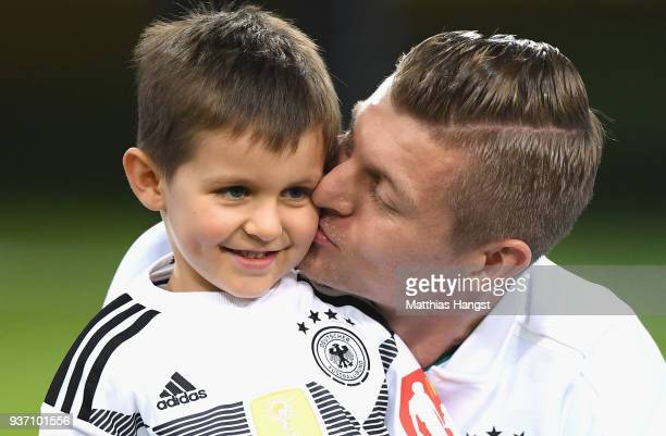 Toni Kroos of Germany with his son prior to the International friendly match between Germany and Spain at EspritArena on March 23 2018 in Duesseldorf...