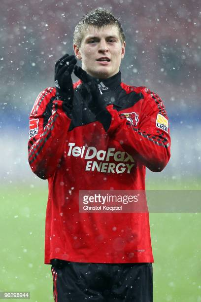 Toni Kroos of Leverkusen celebrates the 31 victory after the Bundesliga match between Bayer Leverkusen and SC Freiburg at the BayArena on January 31...