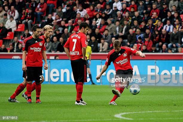 Toni Kroos of Leverkusen scores his team's first goal during the Bundesliga match between Bayer Leverkusen and 1 FC Nuernberg at BayArena on October...