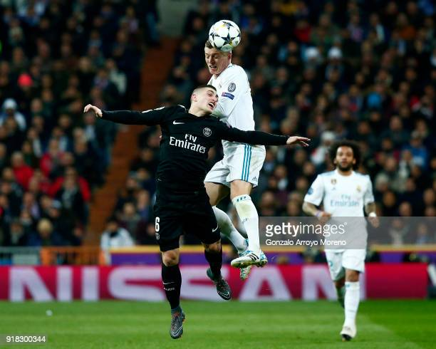 Toni Kroos of Real Madrid and Marco Verratti of PSG in action during the UEFA Champions League Round of 16 First Leg match between Real Madrid and...