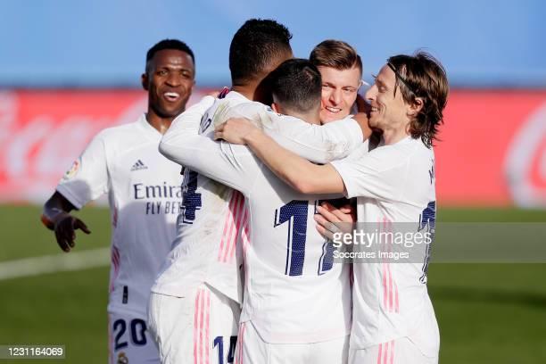 Toni Kroos of Real Madrid Celebrates 2-0 with Casemiro of Real Madrid, Lucas Vazquez of Real Madrid, Luka Modric of Real Madrid during the La Liga...