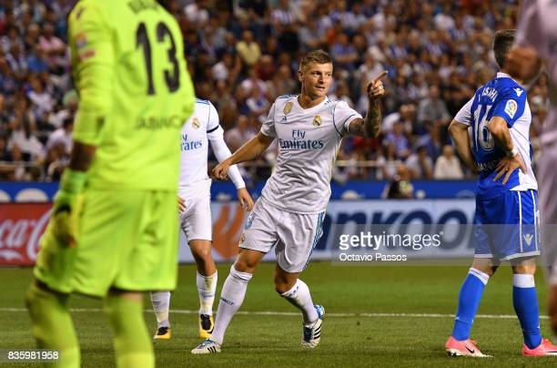 Toni Kroos of Real Madrid celebrates after scores the third goal during the La Liga match between Deportivo La Coruna and Real Madrid at Riazor...