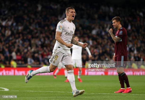 Toni Kroos of Real Madrid celebrates after scoring his team's first goal during the La Liga match between Real Madrid CF and RC Celta de Vigo at...