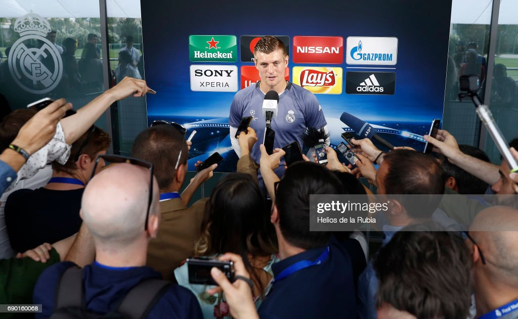 Toni Kroos of Real Madrid CF answers questions in the mixed zone during the Real Madrid UEFA Open Media Day at Valdebebas training ground on May 30, 2017 in Madrid, Spain.