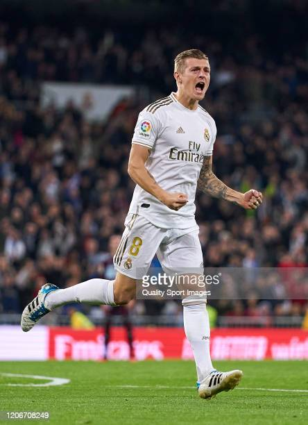 Toni Kroos of Real Madrid CF celebrates after scoring his team's first goal during the Liga match between Real Madrid CF and RC Celta de Vigo at...