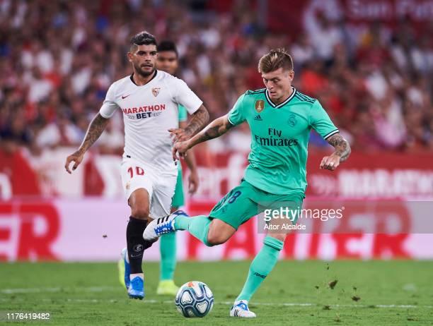 Toni Kroos of Real Madrid CF in action during the Liga match between Sevilla FC and Real Madrid CF at Estadio Ramon Sanchez Pizjuan on September 22...