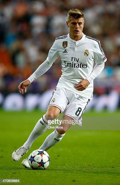 Toni Kroos of Real Madrid CF in action during the UEFA Champions League quarterfinal second leg match between Real Madrid CF and Club Atletico de...