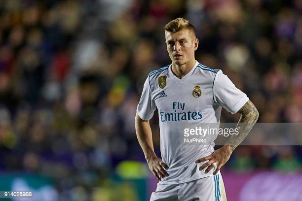 Toni Kroos of Real Madrid CF looks on during the La Liga game between Levante UD and Real Madrid CF at Ciutat de Valencia on February 3 2018 in...