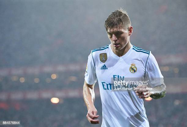 Toni Kroos of Real Madrid CF looks on during the La Liga match between Athletic Club and Real Madrid at Estadio de San Mames on December 2 2017 in...