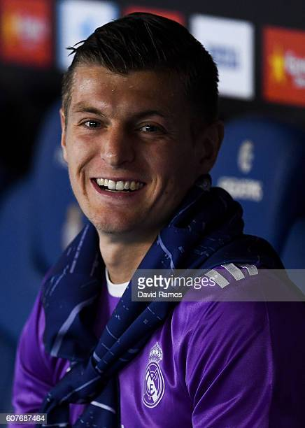 Toni Kroos of Real Madrid CF looks on prior to the La Liga match between RCD Espanyol and Real Madrid CF at the RCDE stadium on September 18 2016 in...