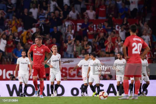 Toni Kroos of Real Madrid CF reacts after being scored during the La Liga match between Sevilla FC and Real Madrid CF at Estadio Ramon Sanchez...