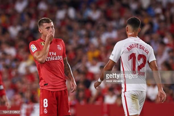 Toni Kroos of Real Madrid CF reacts during the La Liga match between Sevilla FC and Real Madrid CF at Estadio Ramon Sanchez Pizjuan on September 26...