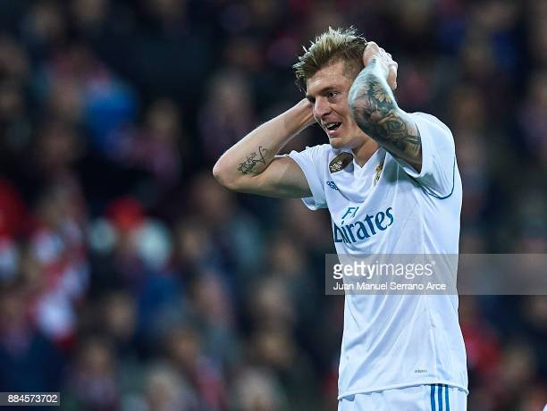 Toni Kroos of Real Madrid CF reacts during the La Liga match between Athletic Club and Real Madrid at Estadio de San Mames on December 2 2017 in...