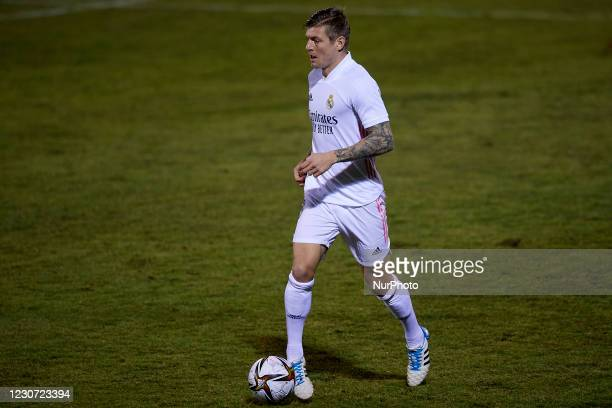 Toni Kroos of Real Madrid controls the ball during the round of 32 the Copa del Rey match between CD Alcoyano and Real Madrid at Campo Municipal de...