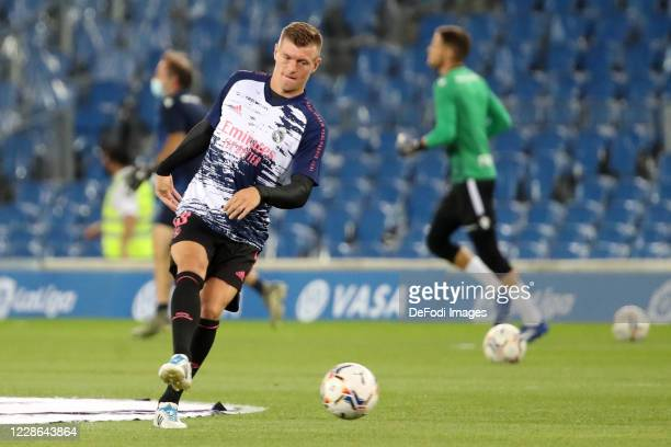 Toni Kroos of Real Madrid controls the ball prior to the La Liga Santader match between Real Sociedad and Real Madrid at Estadio Anoeta on September...