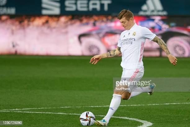 Toni Kroos of Real Madrid does passed during the Supercopa de Espana Semi Final match between Real Madrid and Athletic Club at Estadio La Rosaleda on...