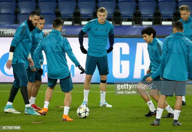 Toni Kroos of Real Madrid during Real Madrid's training on the eve of UEFA Champions League match between Paris Saint Germain and Real Madrid at Parc...