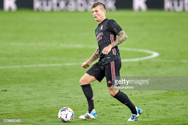 Toni Kroos of Real Madrid during the La Liga match between Real Sociedad and Real Madrid played at Reale Arena Stadium on September 20 2020 in San...
